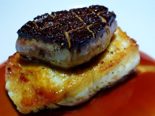 aslaskan halibut w foie spoon
