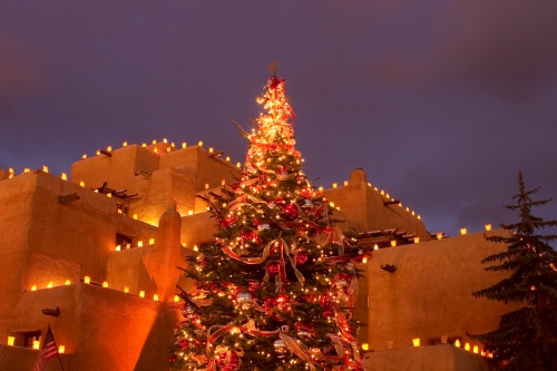 Christmas Tree at twilight, Inn at the Loreto, Santa Fe, New Mexico