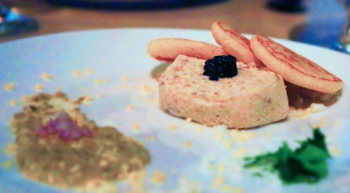 2 Whitefish Pate' with Caviar, Caper and Mustard Puree and Blinis (paired with a Pepiere Muscadet)
