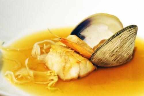 4 Clarified Bouillabaise with Monkfish, Head-On Shrimp and Topneck Clam (Served with a Henri Natter Sancerre)