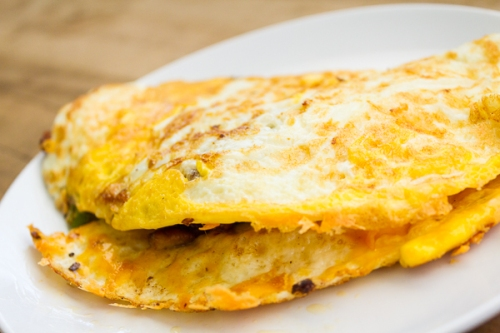 Bacon, cheese and jalapeno omelet by Mickey Lucas