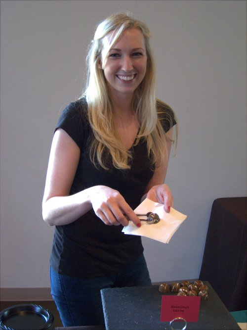 Katie Weiser (Katie Weiser Chocolate) wasn't in the competition but showed how thin chocolate can make you