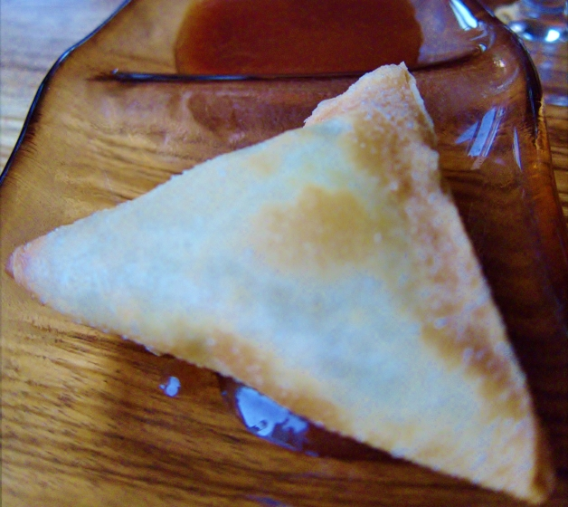 Patti Samosa. Braised Spinach and Paneer Cheese in Thin Rice Sheets