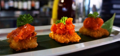 Salmon Tartare on Crispy Rice 5$