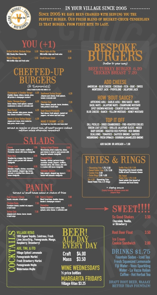 VILLAGE BURGER MENU