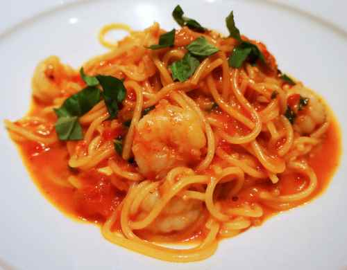 Spaghettini with Rock Shrimp Tomato Basil and Red Pepper