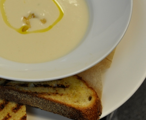Cauliflower Soup with Roasted Garlic photo Julie Gates