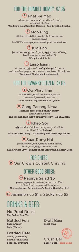 crushcraft menu
