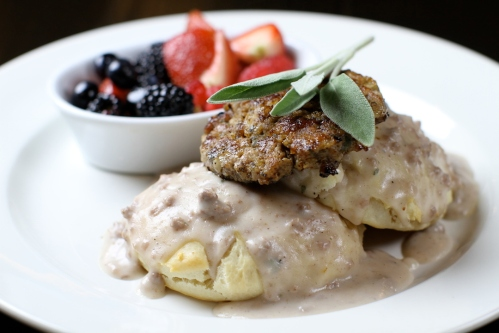 Biscuits and gravy - two cream cheese biscuits