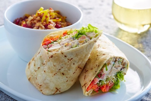 unleavened wrap with quinoa farro salad