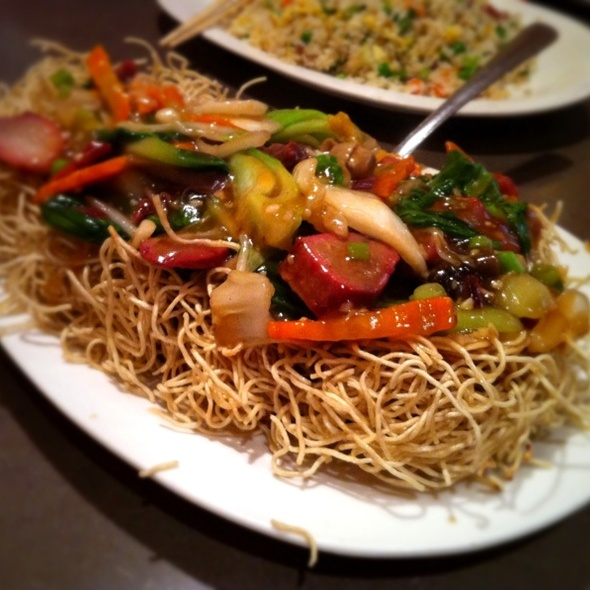 rich first chinese bbq bbq pork pan fried crispy noodles