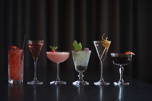L to R_ Strawberry Buck, A Pink Gin Cocktail, Sylvan Supper Club, The Hymnal, Mezcal Me a Taxi, Eerie Silence.jpeg