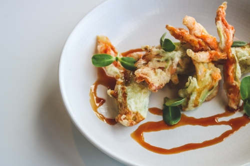 Tempura Squash Blossoms, DMC Lemongrass Cella, Sunflower Shoots, Lemongrass-Chili Gastrique_.jpg